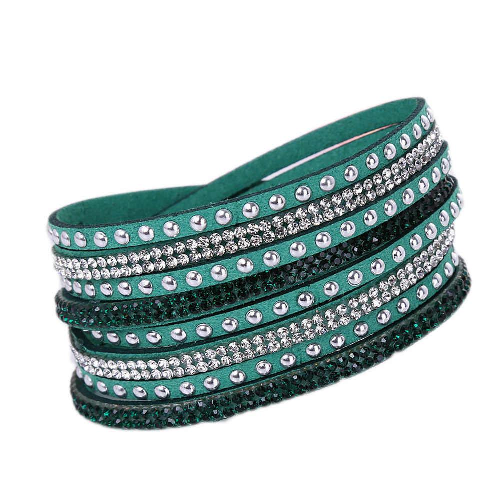 Nowa skórzana bransoletka Rhinestone kryształowa bransoletka Wrap wielowarstwowe bransoletki dla kobiet feminino pulseras mulher biżuteria