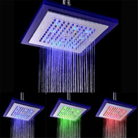 Temperature Control 3 Colors 8 Inch Glass Lighting Rain Bathroom Showerhead Blue Green Red