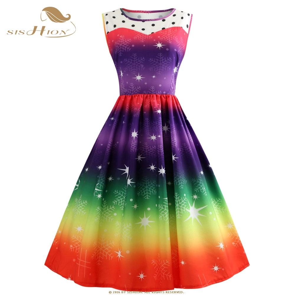 SISHION Plus Size Christmas Dress Sleeveless Snow Print Gradient Color  Elegant New Year Vintage Christmas Party Dresses VD0845