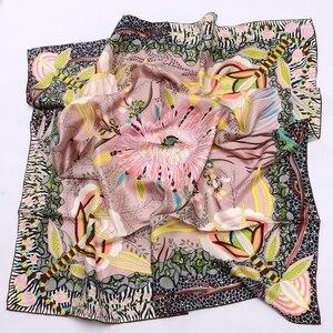 Image 3 - High Style Floral Print Square 100% Silk Twill Scarf Wraps Women Head Scarves Hijab Shawl Foulard 88*88cm