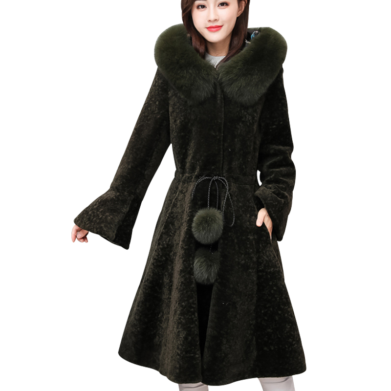 YAGENZ Women winter long wool coat designer Fur Coat Female Sheep Shearing Overcoat Fox Fur Collar Wool Winter Jacket A349