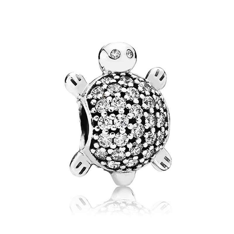Sea Turtle Clear CZ Charm Pave Beads 100% 925 Sterling Silver DIY Jewelry Fit pandora charms silver 925 original