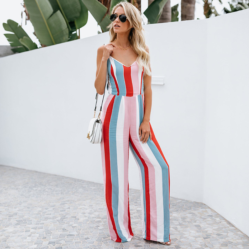 0aac281e7388 2018 Summer Fashion Multicolor Striped Wide Leg Jumpsuit Women Sexy  Backless Spaghetti Strap Jumpsuits Casual Bowtie Overalls-in Jumpsuits from  Women s ...