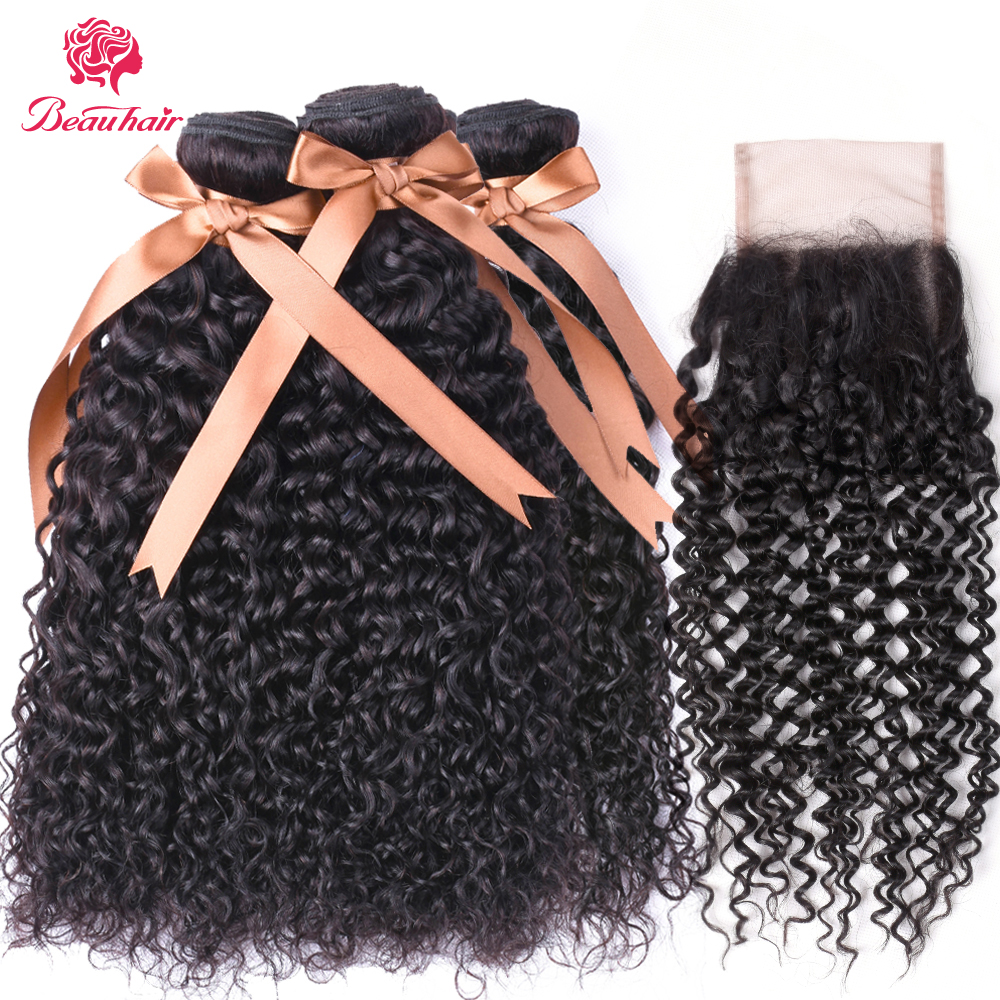 BEAUHAIR Peruvian Kinky Curly Human Hair 3 Bundles With Closure 4x4 Inch 130% Density Non Remy Buy 3 Get One Free Closure