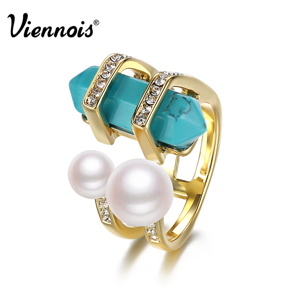 все цены на Viennois Bohemian Gold Color Rings For Women Double Simulated Pearls Female Finger Ring Jewelry