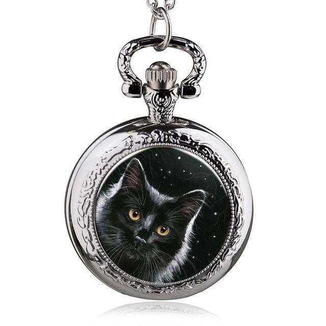 2017 New Fashion Cat Quartz pocket watches lovely Pendant necklace Women Girl Gi