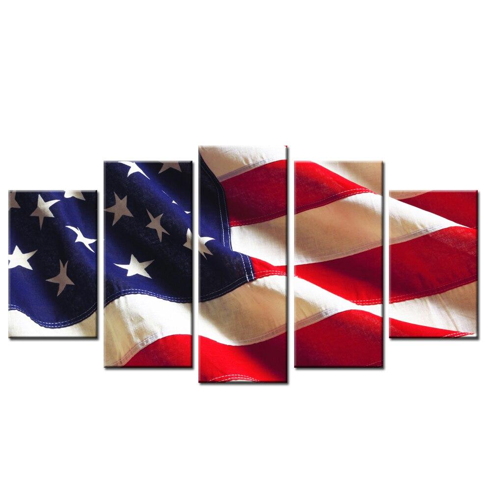 HD imprimé 5 pièces toile Art drapeau américain USA peinture mur photos pour salon moderne livraison gratuite/SJM1824