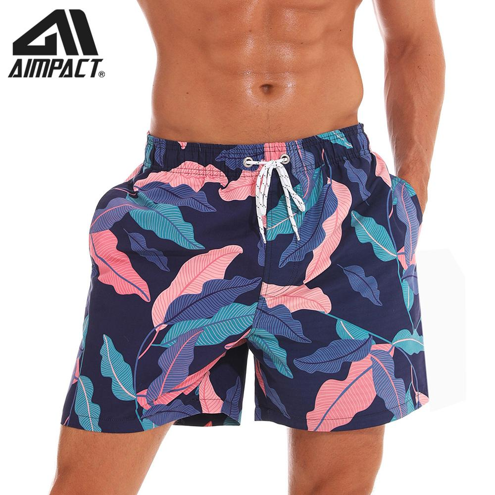 AIMPACT Mens Swim Trunks 3D Print Colrful Leaves Quick Dry Swimsuits Beach   Board     Shorts   with Mesh LiningAM2198