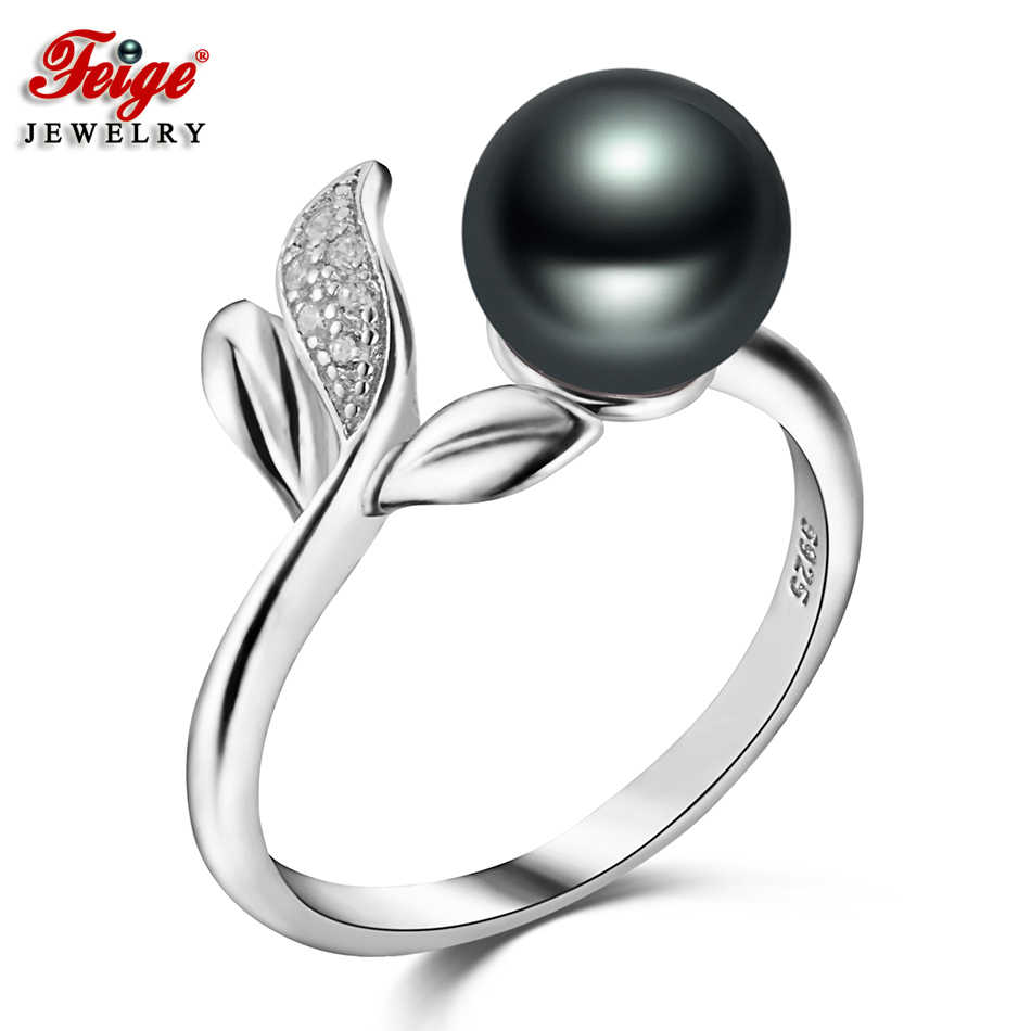 Feige Fine Jewelry Real 925 Sterling Silver Ring 7-8mm Black Freshwater Pearl Rings for Women Vintage Style Accessories Anillos