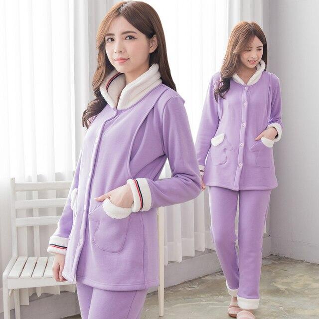 4f7bd2957f MamaLove Winter Maternity Nightgown Maternity Pajamas Sweatshirt  Breastfeeding Sleepwear Nursing Pajamas for Pregnant Women