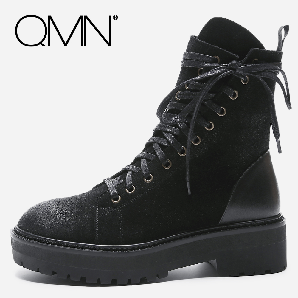 QMN women genuine leather ankle boots for Women Waxed Cow Suede Fashion Boots Shoes Woman Platform Martin Boots Botas Size 34-39 qmn women crystal embellished natural suede brogue shoes women square toe platform oxfords shoes woman genuine leather flats
