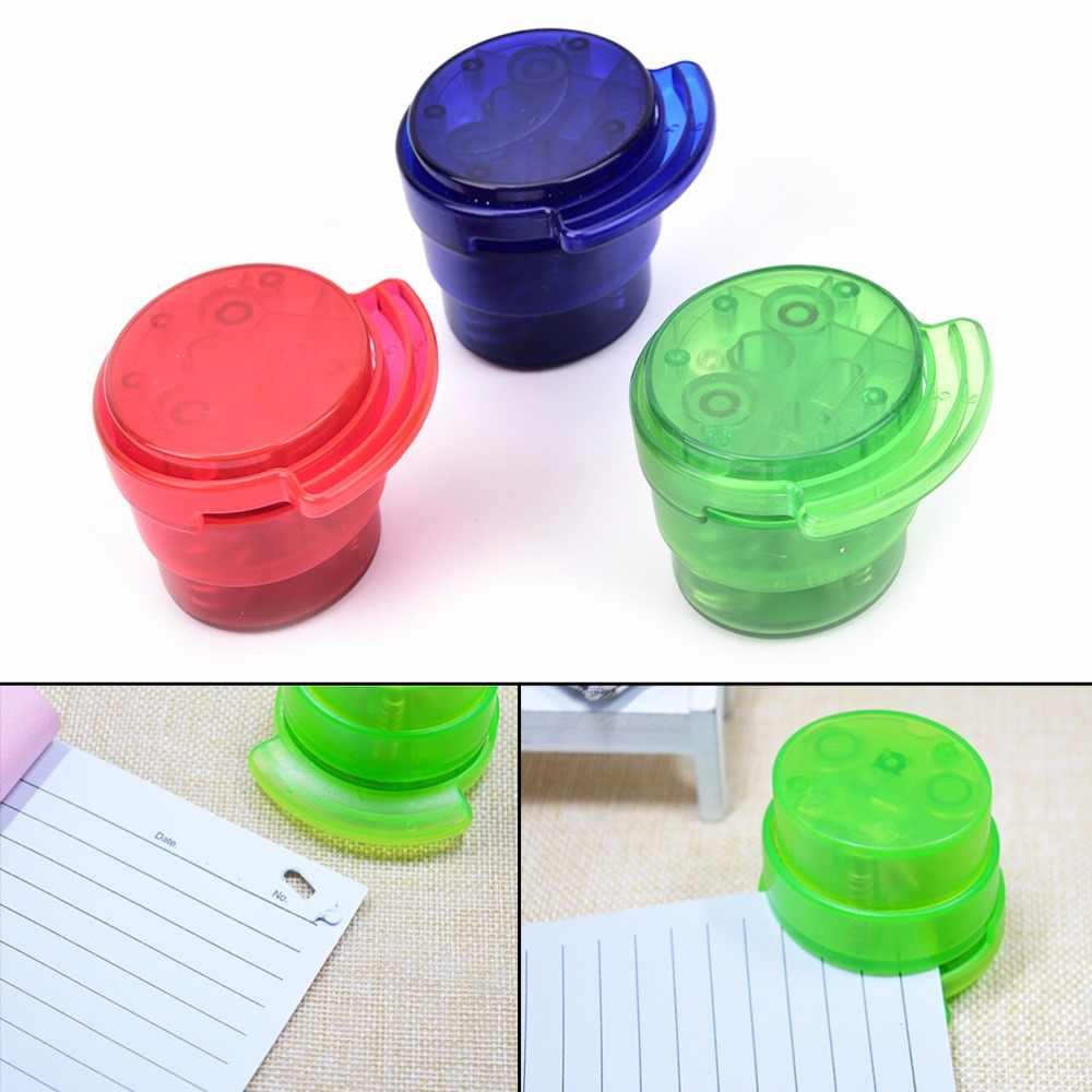 Mini School paperclip Office Home Staple gratis Stapleless Nietmachine Papier Binding Binder Paperclip Student Willekeurige Kleur