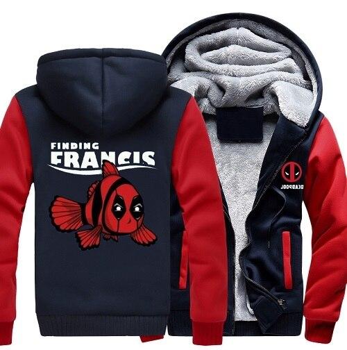 13ef9d8981ce Deadpool Hoodie Finding Francis Thick Zipper Men Sweatshirts Deadpool Wade  Wilson Hoody Jacket Coat Size S