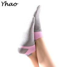 Yhao Brand Women Pilates Five Toe 100% cotton Non-Slip Yoga socks female Mix color Free Shipping