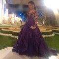Фиолетовый 2016 Знаменитости платье A line Sheer V шеи Длинные Вечерние Платья