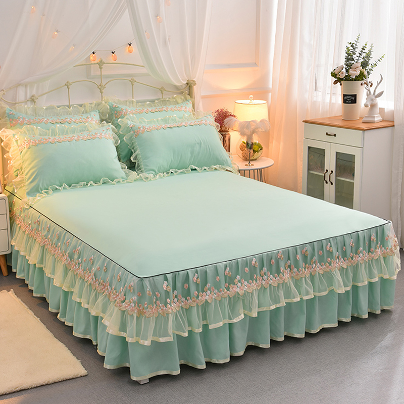 Korean Lace Bed Set Pink King Queen Size Bedding Set Solid Bed Skirt Sheet Pillowcases for Girls Wedding Bedding Home Textile