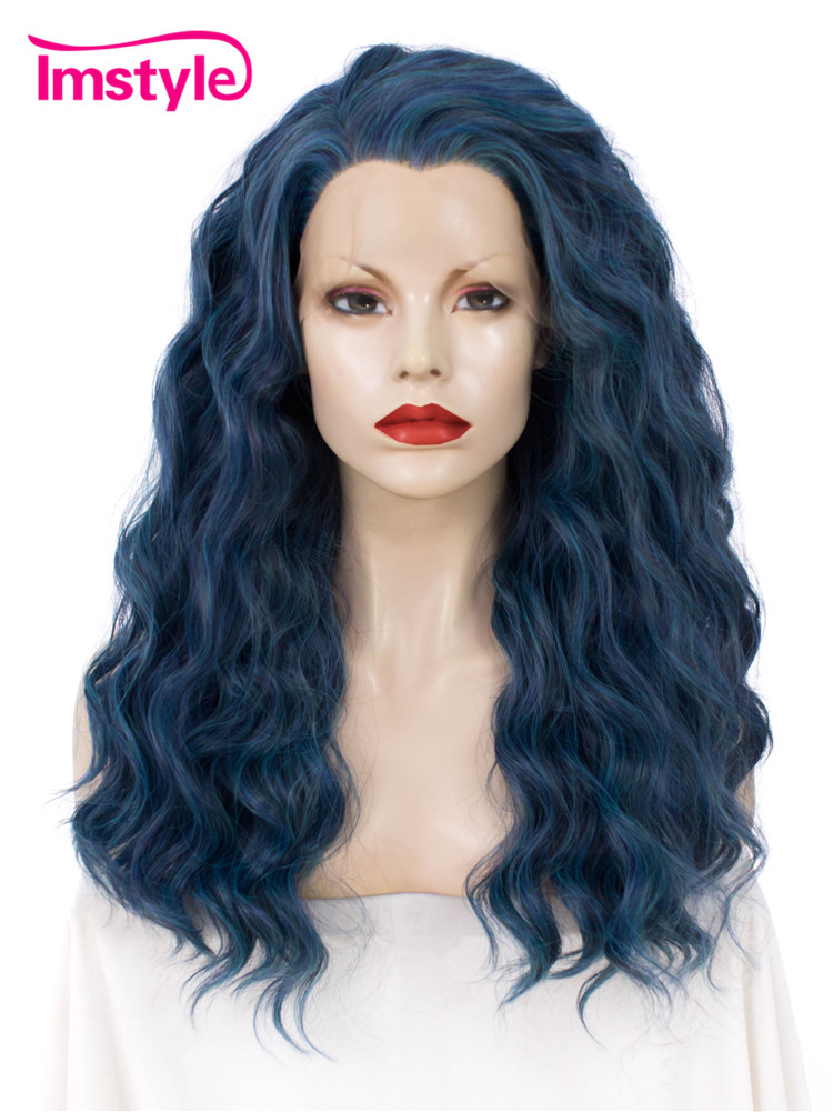 Imstyle Multi Blue Wig Curly Long 24 Inch Synthetic Front Lace Wigs for Women Cosplay Heat Resistant Fiber