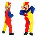 Crianças Do Bebê Dos Miúdos Jumpsuits & Rompers + Hat + Circus Clown Nose Halloween Carnaval Cosplay Trajes de Festa Roupas de Desempenho
