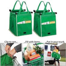 Brand Folding Fabric Shoping Bag Foldable Tote Handbag Reusable Trolley Clip To Cart Grocery Shopping Cart Bags eco bag