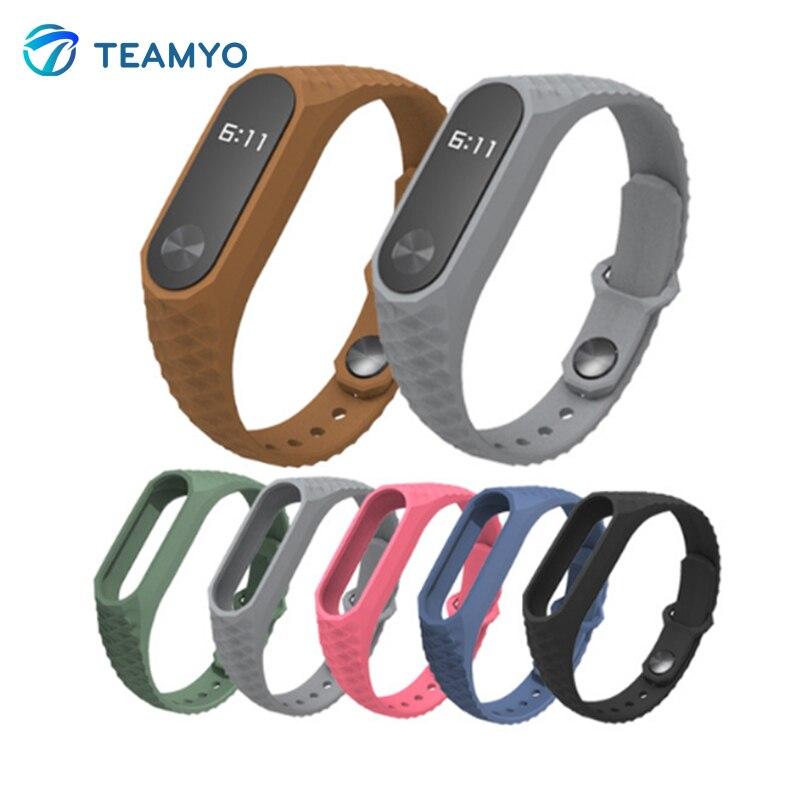Teamyo 2017 Newest Silicone Aurora Xiaomi Mi Band 2 strap Smart Band Replacement Accessories Wrist Strap For Smart Wristband