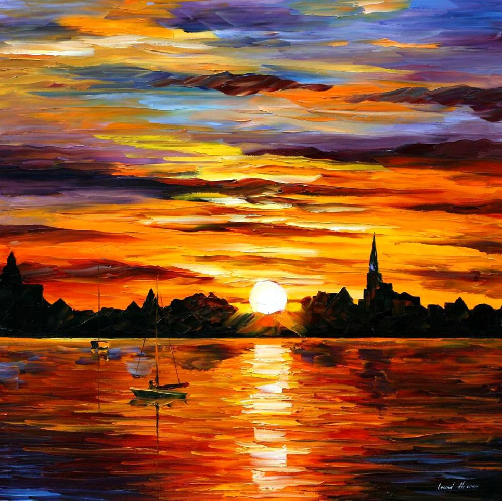 Original watercolor art for sale - Landscape Painting For Sale Colorful Oil Paintings Canvas Corsica Sunset Modern Wall Art Home Decor High