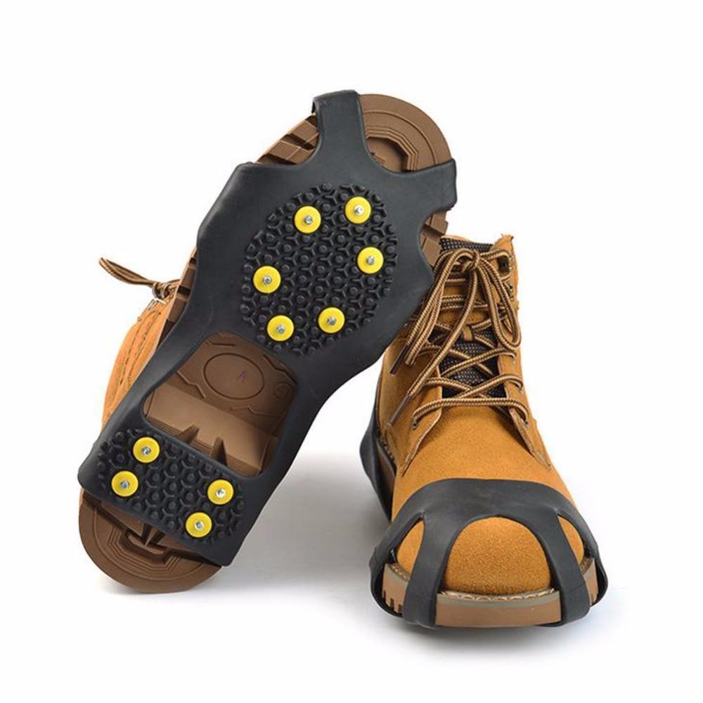 10 Stud S M L XL Universal Ice Non Slip <font><b>Snow</b></font> <font><b>Shoe</b></font> Spikes Grips Cleats Crampons Winter Climbing Safety Tool Anti Slip <font><b>Shoes</b></font> Cover