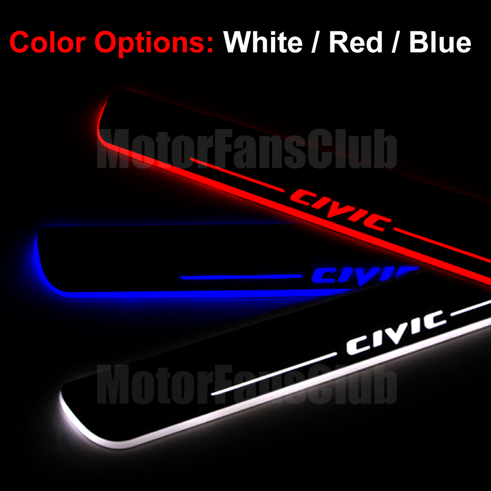 For Honda Civic 2PCS LED Moving Front Door Sill Guards Stainless Steel Scuff Plate Welcome Pedal