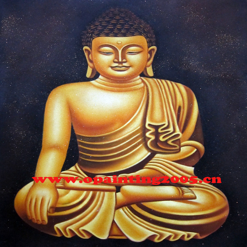 Hand Painted Golden Buddha Oil Painting On Canvas Wall Painting For Temple or Living Room Decor Wall Pictures Religion Painting
