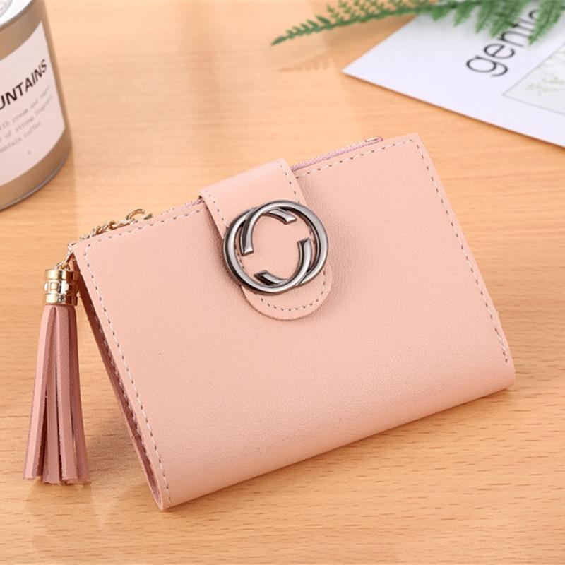 High quality female wallet 2018 new short women wallet Hot sale tassel mini lady travel card holder zipper purse Clutch Carteras 4