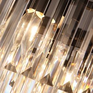 Image 4 - KINLAMS Modern Rectangular Lustre Crystal Chandelier Light Semiflush Mount Crystal Chandeliers Lighting Fixtures For Living Room
