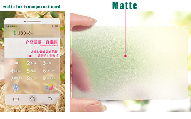 100pcsone design custom transparent business card 85.554mm matte personalised name card with your info (5)