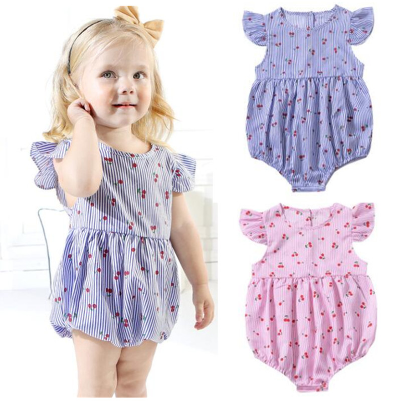 Summer 2019 Baby Clothes China Lovely Little Strawberry Baby Girl Bodysuit Ruffles Short Sleeve Blue Pink Body Infant Girl Kids