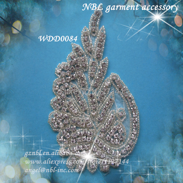 30 PIECES crystal bridal rhinestone beaded applique for wedding evening dress iron on WDD0084