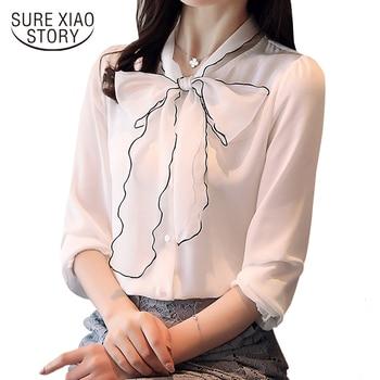 b5e1158d0ce 2018 новые модные милые белые шифон Женщины блузка рубашка Длинные рукава  Повседневные воротник-бант Женская одежда женские топы blusas D290 30