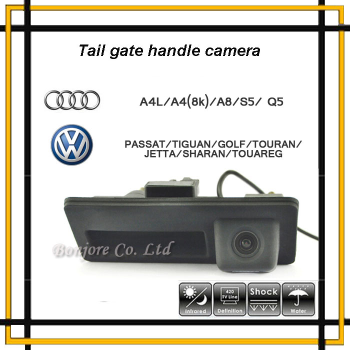 Anti Fog CCD 170Degree Car Runk Handle Parking Rearview Backup Camera for Audi VW Passat Tiguan