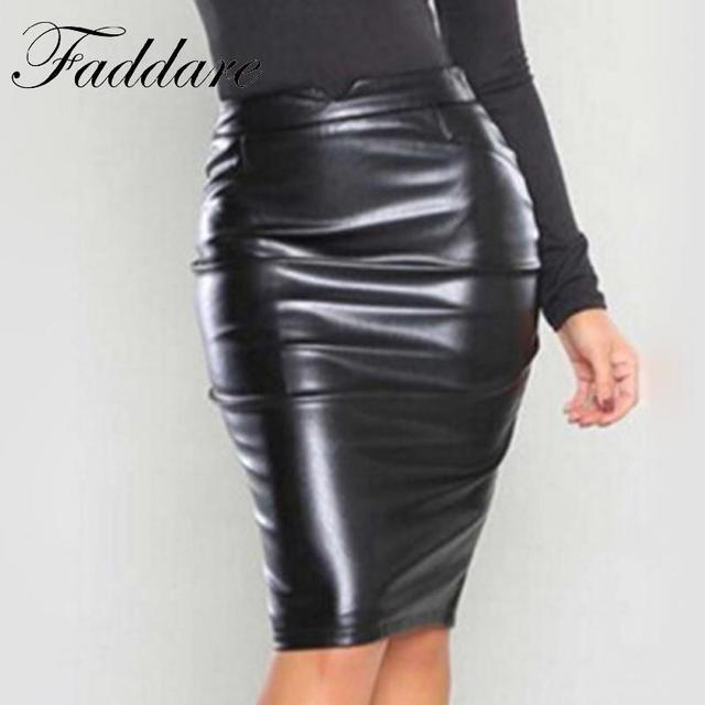 13a3dd02e2a85 High Quality Soft PU Leather Skirt High Waist Slim Hip Pencil Skirts  Vintage Bodycon OL Midi