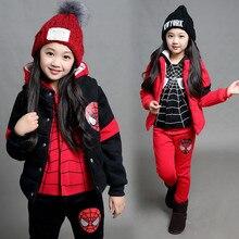 Spider Man Children Suit Winter Warm Thicken Three-piece Set 2017 Autumn Children Coats Sportswear Autumn Winter Boys girls kids
