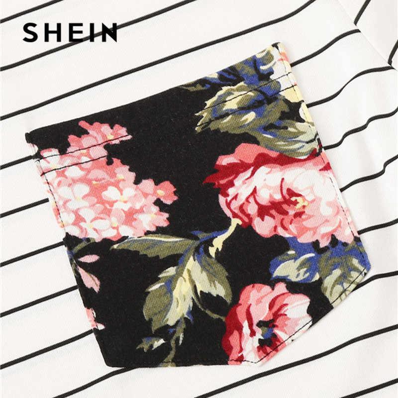 SHEIN Adrette Blumen Tasche Gepatcht Gestreiften Ringer T Shirt Frauen Kleidung 2019 Rundhals Casual Stretchy Sommer Hemd Damen Tops