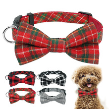 Dog-Collar Christmas-Gift Dogs Chihuahua Bowtie Puppy Cats Small Adjustable Fashion Plaid