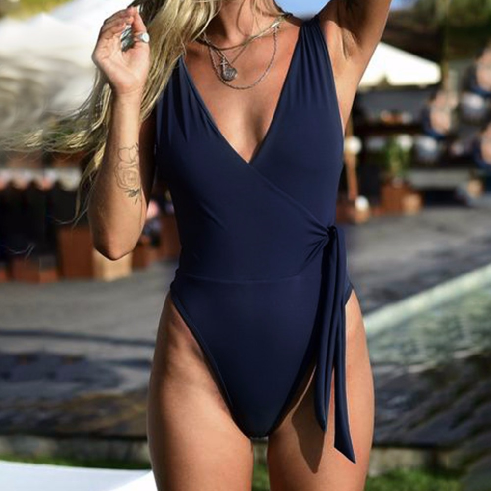 2018 Newest Swimwear Women One Piece Bathin Suit Sexy Monokini Solid Swimsuit High Cut Bodysuit Swimwear Female Maillot De Bain high neck one piece swimsuit women high cut thong swimwear sexy bandage trikini hollow out mesh bodysuit female zipper monokini