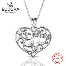 Eudora 100% Real 925 Sterling Silver Female Love Heart Pendant Necklace Top New 2017 Fashion Women Necklace Accessories CYD037 lotus fun moment real 925 sterling silver designer fashion jewelry fashion love heart tassel pendant without necklace for women