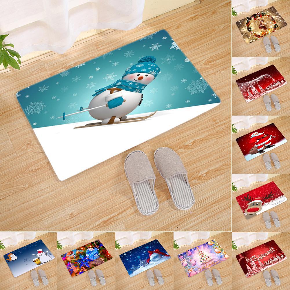 Christmas Reindeer Snowman Santa Claus Flannel Floor Mat ...