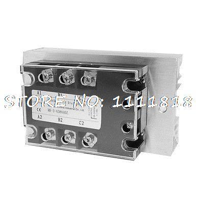 цена на Control 90-280VAC Load 380VAC 40A SSR Solid State Relay w Heat Sink Abxcg