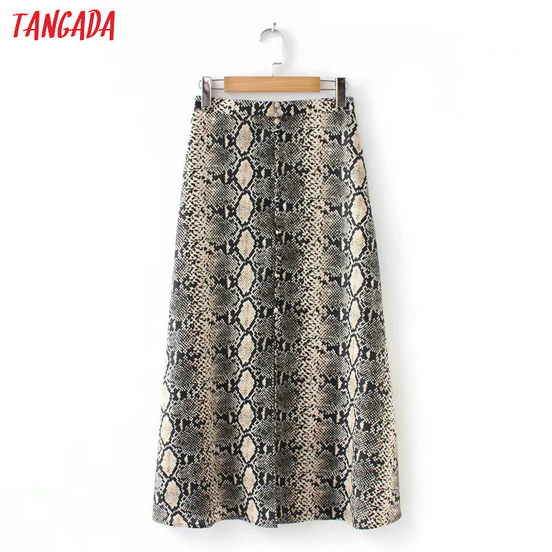 Tangada Women Hem Open Skirt Snake Print Side Open Ankle Length Female Elegant Animal Pattern Skirts AZ111