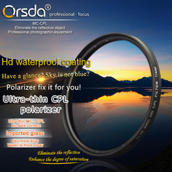 Orsda 37 39 40.5 43 46 49 52 55 58 62 67 72 77 82 86mm Ultra Mince CPL filtre Pour Olympus Sony Nikon Canon Pentax Lentille Hotte Casquette