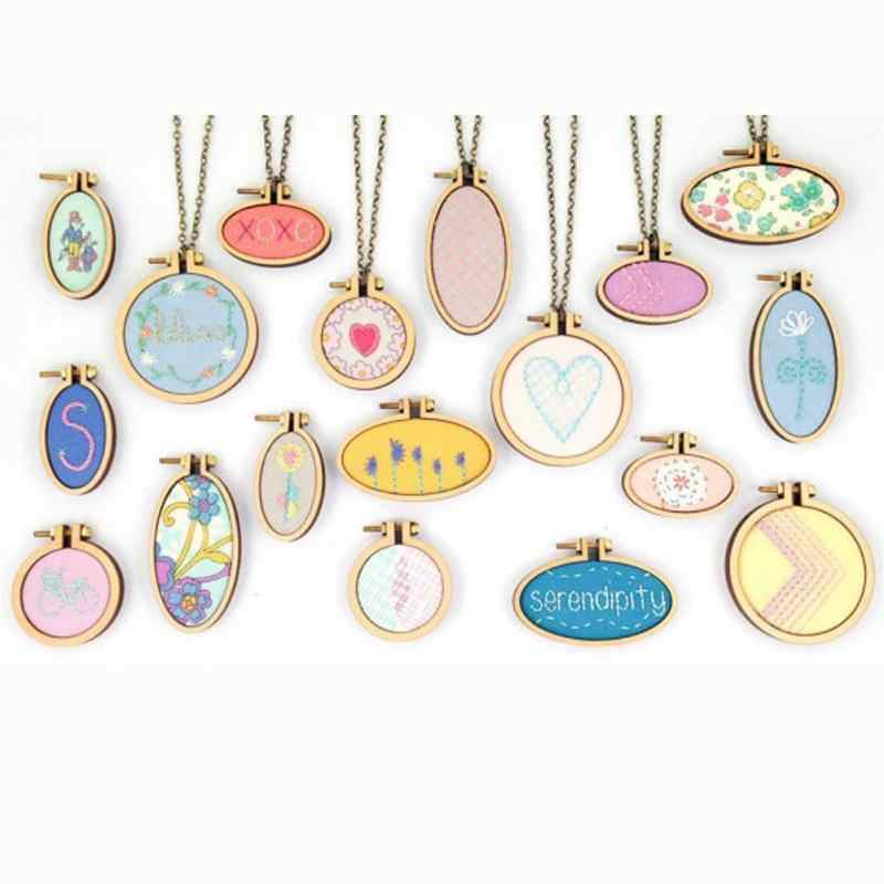 Mini Wooden Cross Stitch Hoop Ring Embroidery Circle Sewing Kit Frame Craft DIY Decor Frames