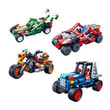 SLPF Children Puzzle Plastic Assembled Building Blocks Boys And Girls Assembling Toys Pullback Cars Car Racing Model Kit Toy E07