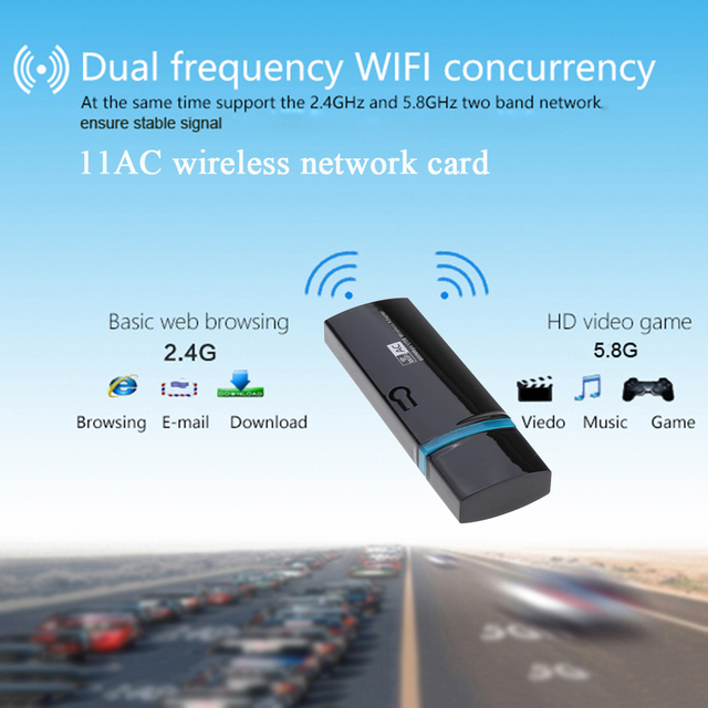600Mbps 11AC USB 2.0 2.4G/5.8G Dual Band Wireless WiFi Adapter Receiver Wireless-N Network Card 802.11ac/a/b/g/n for PC laptop