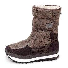 Python patroon vrouwen winter laarzen rits gemakkelijk wear mid culf bruine kleur warm bont binnenzool dame schoenen vrouwelijke dragen gratis verzending