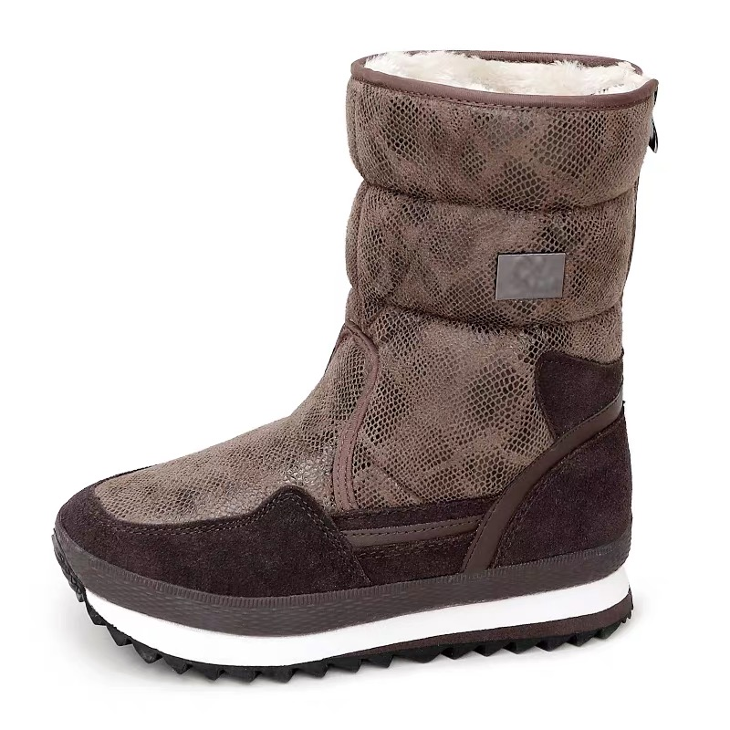 Python pattern women winter boots zipper easy wear mid culf brown colour warm fur insole lady shoes female wearing free shipping